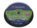 VERBATIM CD-RW(10-Pack)Spindle/8x-12x/High Speed/DLP/700MB